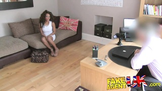 FakeAgentUK Fake interview sees sexy ebony chick get cum
