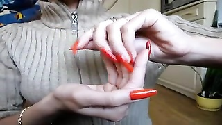Beautiful orange long nails