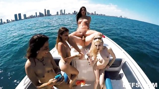 Crazy group-sex on a boat