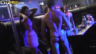 Sexy Russian lesbians having sex in precisely the strip club!