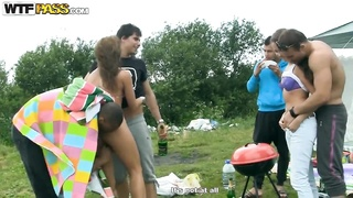 Picnic fun turns in hardcore outdoor orgy!