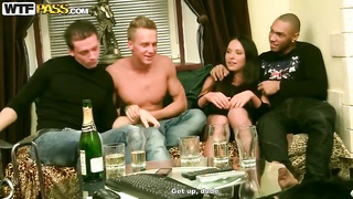 Young slender babe Natalie likes rough gang bang