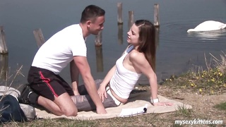 Dark Haired teen will get fastened and orgasmed outdoors