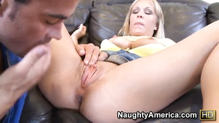 Dale Dabone giving a facial to the blond slut Jessica Moore after hardcore fucking