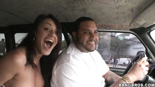 Dark Haired hooker Charley Chase sucks dick in hump bus