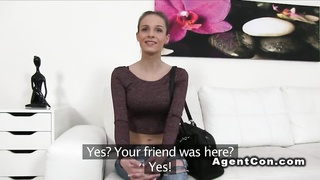 Skinny European amateur fucks in casting