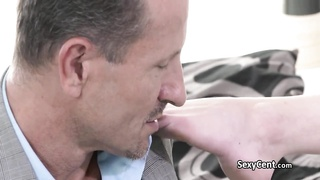 Business man fucks horny milf until creampie