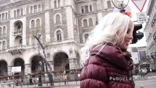 Public pick up ends with blond sweetheart poking