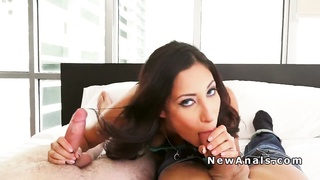 Brunette babe gets anal and dp fucked