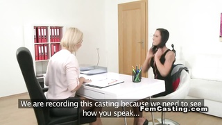 First lesbo experience in casting