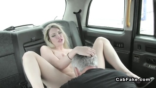 Huge-boobed blond nails in cab in public
