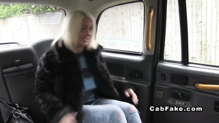 Big-chested British plumper pounded in pretend taxi