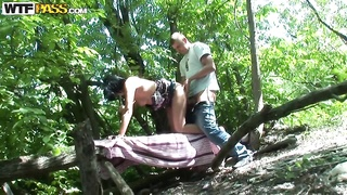 Hardcore pick up of teen slut in the wild sunny forest