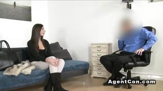 Euro agent fucks tanned amateur babe