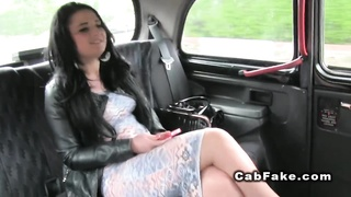 Chubby amateur bangs in a cab
