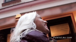 Euro blond rookie flashing huge funbags in public