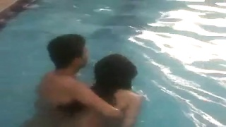 teen indian college students playing bare naked in pool