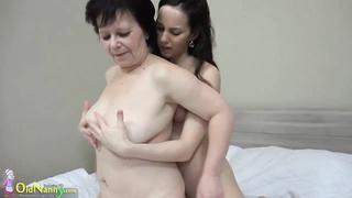 Oldnanny horny granny enjoying lesbian toys