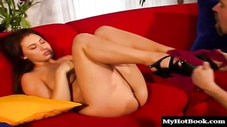 Melanie Jaggers big natural breasts jiggle as she lies on her back and