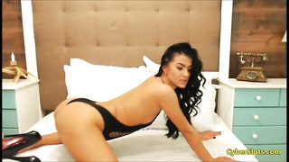Most Beautiful Black Haired Babe in Black Lingerie and High Heels