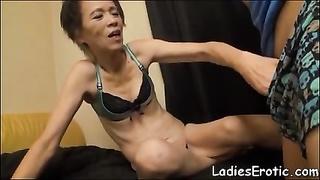 Asian granny hairy pussy creampie