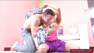 Tranny cheerleader Sheyna rides on cock