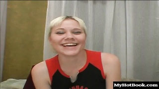 Baby Dee is a blonde cheerleader wholl be sitting on her bed showing