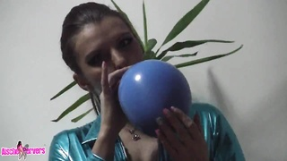 This slutty thing likes to play with balloons and manhood