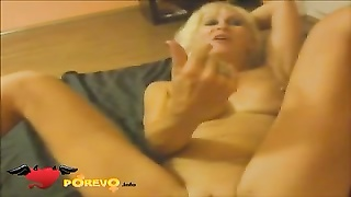 Big-titted blond is blubbering at the same time as touching his rigid dong