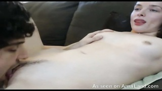 Glossy white girl-friend is getting your hands on his tongue in her tight muff