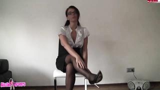 Nerdy secretary teen slowly undressing her office uniform