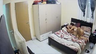 Condominium alone parents drills hard on hidden webcam