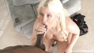 Big-ass blond slams with a extremely large ebony meat in exactly the doggy pose