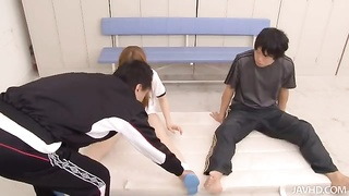 Sexy Chinese woman doing fairly largest movements in precisely the school locker apartment