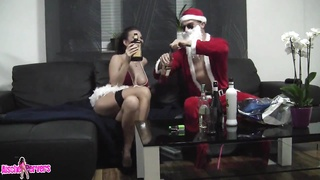 Attractive Santa screws brutal brown haired with terribly large tits