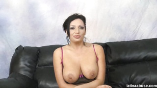 Big-breasted milf slams hard in her wide-opened mouth