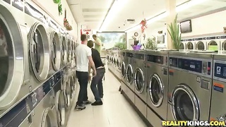 3 big-breasted whores deep-throating random company in laundry