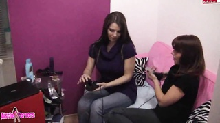 Lesbian porn with naughty hotties playing with vibrators