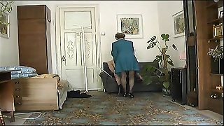 Charming skinny mom drills with young young man on novice web cam | Aged and Young