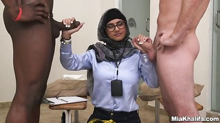 Sexy Mia Khalifa engages in a engaging bi-racial threesome