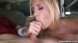 Adept blond milf blowing random cock in precisely the Bangbus