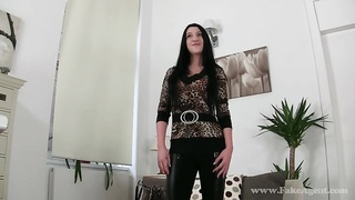 Slutty dark haired spreading her long legs in the course of audition with Faux Agent
