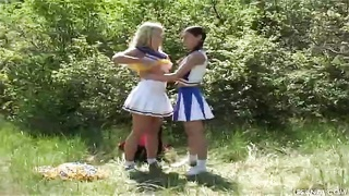 2 young Cheerleader gfs are handing out in exactly the flick by exactly the Les Ass Sex