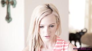Slender blond is sucking cock of her nerdy boyfriend!