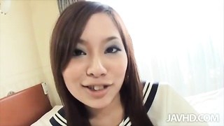 Sensual Chinese freak is playing with toys in Jav HD movie