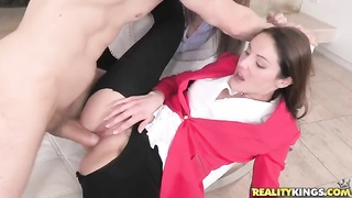 Prostitutes with teared clothing having an superior threesome