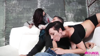 Hot Babes Karmen Karma and Jada Stevens seduce a guy for a threeway fun
