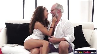 Latin Melody Petite craves for old cock