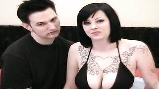 Sexy and huge titted emo doll in stocking plays with posistion 69