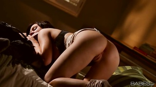 Thrilled brown-haired female domination offers a savage head for her fuck friend